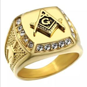 Gold freemason ring masonic signet steel plated